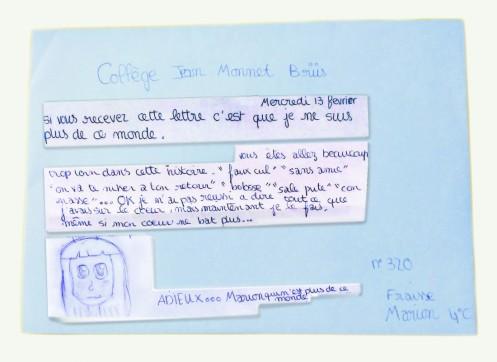 marion fraisse lettre de suicide